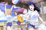 3girls :d absurdres apron armpits arms_up ass ball bare_legs beach beach_umbrella beachball blonde_hair blue_eyes blue_footwear blue_hair blue_shirt blue_shorts blue_sky blush braid breast_pocket breasts chair character_name clouds cloudy_sky day dengeki_g's denim denim_shorts eyebrows_visible_through_hair fence french_braid frilled_apron frilled_innertube frills hair_between_eyes hair_bun highres holding holding_innertube holding_towel innertube kobayashi_shinpei large_breasts light_brown_hair looking_at_another love_live! love_live!_sunshine!! magazine_scan medium_breasts multiple_girls nail_polish navel official_art ohara_mari open_mouth orange_frills orange_innertube outdoors pink_footwear pink_nails pocket polka_dot polka_dot_innertube price_tag red_umbrella round_teeth running sand sandals scan shirt short_hair shorts sky sleeves_rolled_up small_breasts smile table teeth tied_shirt tongue towel translation_request tsushima_yoshiko umbrella violet_eyes watanabe_you water white_apron white_frills white_polka_dots white_towel wooden_fence yellow_eyes