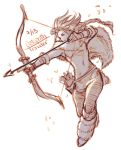 1girl arrow boots bow_(weapon) drawing_bow full_body gloves h'aanit_(octopath_traveler) highres holding holding_bow_(weapon) holding_weapon hunter krazehkai long_hair monochrome octopath_traveler quiver solo weapon white_background