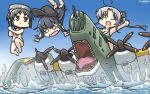 3girls ahoge aircraft airplane akatsuki_(kantai_collection) akitsushima_(kantai_collection) black_hair blue_sky brown_eyes chibi closed_eyes day diving_mask diving_mask_on_head flat_cap flying_boat gradient_sky grey_hair hamu_koutarou hat highres kantai_collection long_hair maru-yu_(kantai_collection) multiple_girls nishikitaitei-chan open_mouth outdoors remodel_(kantai_collection) riding school_swimsuit sharp_teeth short_hair side_ponytail sidelocks sky swimsuit tears teeth waves white_school_swimsuit white_swimsuit