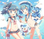 beret bikini bikini_skirt blue_eyes blue_hair blue_sky clouds hair_ornament hat heart heart_hair_ornament highres hikari_(pokemon) luvdisc piplup pokemon ponytail popplio porocha short_hair sidelocks sky suiren_(pokemon) swimsuit tiara wailmer wailord water wingull wishiwashi