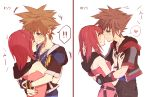 1boy 1girl breasts brown_hair commentary_request dress hetero jacket jewelry kairi_(kingdom_hearts) kingdom_hearts kingdom_hearts_ii kingdom_hearts_iii medium_hair necklace ramochi_(auti) redhead short_hair sora_(kingdom_hearts)