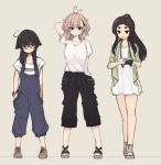 3girls ahoge antenna_hair arm_up bangle bangs black_shorts bracelet breasts brown_background brown_footwear brown_hair camera commentary_request dress eyebrows_visible_through_hair glasses green_jacket hair_between_eyes hair_flaps hair_ornament hands_in_pockets head_tilt high_ponytail holding holding_camera jacket jewelry kuranami_shiki light_brown_hair long_hair looking_at_viewer medium_breasts multiple_girls natsuki_teru nekomiya_ryuu open_clothes open_jacket original overalls ponytail red-framed_eyewear sandals shikibe_ayaka shirt shoes short_sleeves shorts sidelocks standing thick_eyebrows toenails white_dress white_shirt