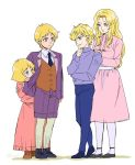 2boys 2girls annerose_von_grunewald arm_around_shoulder behind_another blonde_hair blue_eyes blue_neckwear blue_pants bob_cut brother_and_sister char_aznable chin_stroking crossover dress eiyuu_densetsu full_body gundam hands_on_another's_shoulders jacket mobile_suit_gundam multiple_boys multiple_girls necktie pants pantyhose peeking_out pink_dress purple_jacket purple_shorts reinhard_von_lohengramm sayla_mass shorts siblings simple_background trait_connection twitter_username waistcoat white_background white_legwear