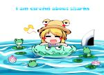 1girl =_= blonde_hair blush_stickers floating frog hat innertube kashuu_(b-q) lily_pad moriya_suwako musical_note open_mouth pyonta simple_background sweatdrop sword touhou typo water weapon white_background
