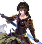 1boy ahoge armor brown_hair fingerless_gloves gloves granblue_fantasy highres hood hood_down looking_at_viewer makita_(homosapiensu) male_focus open_mouth pantyhose red_eyes sandalphon_(granblue_fantasy) short_hair smile solo
