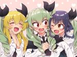3girls :d ;d alternate_hairstyle anchovy anzio_school_uniform arm_grab bangs black_cape black_hair black_neckwear black_ribbon blonde_hair borrowed_hairstyle braid brown_eyes cape carpaccio commentary dress_shirt drill_hair eyebrows_visible_through_hair frown girls_und_panzer green_hair hair_ribbon hands_together kari_okome light_smile long_hair long_sleeves looking_at_another multiple_girls necktie one_eye_closed open_mouth pepperoni_(girls_und_panzer) red_eyes ribbon school_uniform shirt short_hair side-by-side side_braid smile twin_drills twintails twitter_username v-shaped_eyebrows white_shirt wig wing_collar