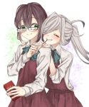 2girls ahoge amane_(axmaxne) asashimo_(kantai_collection) blue-framed_eyewear blue_bow blue_neckwear bow bowtie brown_hair closed_eyes closed_mouth dress eating eyebrows_visible_through_hair food glasses gradient_hair green_eyes grey_hair hair_over_one_eye halterneck highres kantai_collection long_hair multicolored_hair multiple_girls okinami_(kantai_collection) open_mouth pink_hair pocky pocky_day ponytail purple_dress purple_hair school_uniform sharp_teeth shirt short_hair sleeveless sleeveless_dress teeth upper_body white_shirt