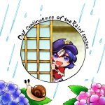 1girl blue_eyes blue_hair blush_stickers chibi flower hat kashuu_(b-q) miyako_yoshika open_mouth peeking_out rain short_hair skirt smile snail solo star touhou upper_body