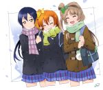 3girls bangs blue_hair closed_eyes coat commentary_request grey_hair hair_between_eyes highres kousaka_honoka long_hair love_live! love_live!_school_idol_project minami_kotori multiple_girls one_side_up orange_hair otonokizaka_school_uniform scarf simple_background smile sonoda_umi suan_ringo white_background yellow_eyes