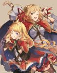 2girls black_legwear blonde_hair bracer cagliostro_(granblue_fantasy) capelet crown djeeta_(granblue_fantasy) granblue_fantasy hair_ornament hair_ribbon hairband long_hair multiple_girls one_eye_closed open_mouth ribbon short_hair skirt spikes thigh-highs tongue tongue_out violet_eyes yumekui