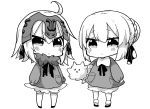 2girls absurdres ahoge artoria_pendragon_(all) bangs bloomers blush bow braid carrying_under_arm chibi closed_eyes collared_shirt commentary_request eyebrows_visible_through_hair fate/apocrypha fate/grand_order fate/stay_night fate_(series) fur-trimmed_shirt fur_trim greyscale hair_between_eyes hair_bow hair_bun headpiece highres jako_(jakoo21) jeanne_d'arc_(alter)_(fate) jeanne_d'arc_(fate)_(all) kneehighs long_sleeves monochrome multiple_girls puffy_long_sleeves puffy_sleeves saber_alter shirt simple_background sleeves_past_wrists socks standing underwear v-shaped_eyebrows white_background younger