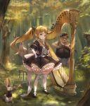 1girl bear blonde_hair deer dress forest harp highres instrument lard_(kumazakiyuta) looking_at_viewer nature original outdoors personification pointy_ears stool trumpet twintails violin white_legwear