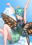 1girl :d antennae aqua_hair armpits arms_up bangs bare_arms blue_sky butterfly_wings clouds dress eternity_larva fairy flying hair_ornament highres leaf leaf_hair_ornament leg_up open_mouth orange_eyes outdoors roke_(taikodon) short_hair sky smile solo touhou wings