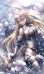 2girls armor armored_boots armored_dress bangs bare_shoulders black_cape black_dress black_legwear blonde_hair blue_eyes boots breasts cape clouds cloudy_sky commentary dress earrings eyebrows_visible_through_hair facing_away fate/apocrypha fate/grand_order fate_(series) flower fur-trimmed_legwear fur_trim gauntlets hair_between_eyes headpiece jeanne_d'arc_(alter)_(fate) jeanne_d'arc_(fate) jeanne_d'arc_(fate)_(all) jewelry long_hair medium_breasts multiple_girls outdoors silver_hair sky solo_focus thigh-highs very_long_hair white_dress white_flower yunohito