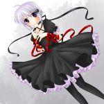 1girl black_dress dress gothic_lolita hair_ornament hekikuu_(kanaderuyume) kagari_(rewrite) lolita_fashion red_ribbon rewrite ribbon short_hair short_sleeves silver_hair solo violet_eyes