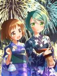 2girls :d :o aqua_hair bag bagged_fish bang_dream! bangs blue_kimono blurry bob_cut bokeh brown_eyes brown_hair depth_of_field eyebrows_visible_through_hair festival fireworks fish floral_print food french_fries green_eyes hair_up hazawa_tsugumi hikawa_sayo holding holding_food japanese_clothes kimono light_blush long_sleeves multiple_girls night obi open_mouth ousawa_kanata outdoors paper_bag sash short_hair smile upper_body wide_sleeves yukata