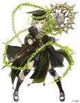 1boy :o absurdres belt blonde_hair chains coat full_body green_eyes grin hat highres holding holding_staff ji_no knee_pads long_nose looking_at_viewer mortarboard official_art pigeon-toed pinocchio_(sinoalice) shoes sinoalice smile sneakers solo staff white_background