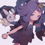 1girl acerola_(pokemon) dress hair_ornament kuroboshi_kouhaku mimikyu multicolored multicolored_clothes multicolored_dress poke_ball pokemon pokemon_(game) pokemon_sm purple_hair simple_background solo stitches topknot torn_clothes torn_dress torn_sleeves violet_eyes white_background