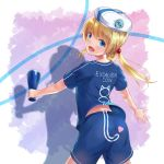 1girl :d akabane_hibame animal_print ass bangs beret blonde_hair blue_eyes blue_shirt blue_shorts cat_print clothes_writing commentary_request excaliburcoin eyebrows_visible_through_hair from_behind hat heart holding logo long_hair looking_at_viewer looking_back megaphone open_mouth shadow shirt short_sleeves shorts smile solo twintails