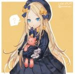 1girl ? abigail_williams_(fate/grand_order) bangs black_bow black_dress black_hat blonde_hair blue_eyes bow commentary_request dated dress fate_(series) hair_bow hat highres long_hair long_sleeves looking_at_viewer object_hug orange_bow parted_bangs polka_dot polka_dot_bow shionty simple_background sleeves_past_fingers sleeves_past_wrists solo spoken_question_mark stuffed_animal stuffed_toy teddy_bear very_long_hair