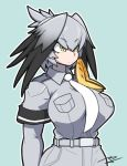 1girl aqua_background arms_at_sides bangs belt black_hair bodystocking breast_pocket breasts closed_mouth collared_shirt expressionless eyebrows_visible_through_hair grey_hair grey_shirt hair_between_eyes kemono_friends kimyouna_juju large_breasts long_hair long_sleeves looking_afar low_ponytail multicolored_hair necktie orange_hair pocket shirt shoebill_(kemono_friends) short_over_long_sleeves short_sleeves side_ponytail signature simple_background solo upper_body white_neckwear wing_collar yellow_eyes