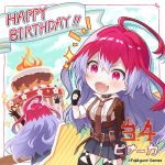1girl ahoge artist_request belt brown_gloves cake chibi choker clouds collar company_name fire food framed gloves happy_birthday highres lavender_hair multicolored_hair necktie official_art partly_fingerless_gloves phantom_of_the_kill pinaka redhead skirt sparkle two-tone_hair zipper