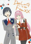 1boy 1girl bangs black_hair black_pants closed_eyes commentary_request couple darling_in_the_franxx green_eyes hair_ornament hairband hand_holding heart heart_hands hetero highres hiro_(darling_in_the_franxx) horns interlocked_fingers kyou_0707 long_hair long_sleeves looking_at_viewer military military_uniform necktie oni_horns open_mouth orange_neckwear pants pantyhose pink_hair red_horns red_neckwear short_hair signature uniform white_hairband zero_two_(darling_in_the_franxx)