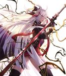 1girl ahoge arm_guards bangs boots bow cecil86 cloak commentary_request dark_skin fate/grand_order fate_(series) grey_eyes hair_between_eyes hair_bow hair_ornament highres holding holding_sword holding_weapon katana lightning long_hair looking_at_viewer okita_souji_(alter)_(fate) okita_souji_(fate)_(all) open_mouth silver_hair simple_background solo standing sword tassel thigh-highs thigh_boots very_long_hair weapon white_background