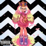 1girl album_cover alternate_costume cephalopod_eyes chain chains commentary cover crown english_commentary fake_cover flat_chest full_body gang_sign gold_chain hime_(splatoon) hood hoodie mole mole_under_mouth octarian paint_splatter parody pink_hair pose raised_eyebrow robert_porter shoes short_hair sneakers solo splatoon splatoon_2 splatoon_2:_octo_expansion tentacle_hair