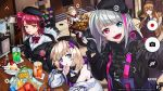 6+girls aa-12_(girls_frontline) beret blonde_hair blue_eyes brown_hair cake candy chibi chips commentary commentary_request fn_fnc_(girls_frontline) food girls_frontline gloves green_eyes hat heart heterochromia highres idw_(girls_frontline) looking_at_viewer m1903_springfield_(girls_frontline) mdr_(girls_frontline) mp7_(girls_frontline) multicolored_hair multiple_girls orange_eyes pomu_(formula)