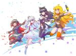 4girls ahoge black_hair black_legwear black_scarf blake_belladonna blonde_hair blue_eyes bow breasts brown_jacket cape cloak coattails detached_sleeve gradient_hair grey_eyes hair_bow highres hood hooded_cloak iesupa jacket kirara_jump large_breasts legwear_under_shorts long_hair midriff multicolored_hair multiple_girls orange_scarf ponytail red_cape redhead ribbon ruby_rose rwby scar scar_across_eye scarf short_hair shorts side_ponytail two-tone_hair violet_eyes wavy_hair weiss_schnee white_hair yang_xiao_long yellow_eyes