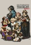4boys 4girls alfyn_(octopath_traveler) artist_request black_hair blonde_hair bracelet braid brown_hair cyrus_(octopath_traveler) dancer everyone gloves h'aanit_(octopath_traveler) hairband hat jewelry long_hair multiple_boys multiple_girls necklace octopath_traveler official_art olberic_eisenberg open_mouth ophilia_(octopath_traveler) pixel_art primrose_azelhart short_hair simple_background smile square_enix therion_(octopath_traveler) tressa_(octopath_traveler) weapon