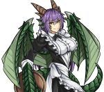 1girl alternate_costume black_outline breasts commentary dragon_(monster_girl_encyclopedia) dragon_girl dragon_tail dragon_wings enmaided eyebrows_visible_through_hair eyes_visible_through_hair frills hair_between_eyes head_fins highres horns large_breasts long_hair looking_at_viewer maid monster_girl monster_girl_encyclopedia purple_hair sanmotogoroo scales simple_background slit_pupils solo tail white_background wings yellow_eyes