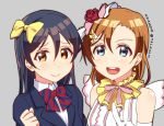 2girls bangs blue_eyes blue_hair blush commentary_request hair_between_eyes hair_ribbon kousaka_honoka long_hair looking_at_viewer love_live! love_live!_school_idol_project multiple_girls one_side_up open_mouth orange_hair otonokizaka_school_uniform ribbon simple_background skull573 sonoda_umi yellow_eyes