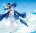 azuuru bangle beach bird bracelet clouds cloudy_sky commentary_request day dress footprints hat highres jewelry majo_no_tabitabi sky sundress white_dress white_footwear white_hair witch_hat