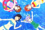 4girls :d \o/ absurdres akasaka_anna animage arms_up bare_shoulders bikini bikini_skirt black_hair blue_eyes blue_frills blush breasts brown_eyes brown_hair collarbone company_name eyebrows_visible_through_hair frilled_bikini frilled_swimsuit frills gluteal_fold green_eyes green_frills green_swimsuit hair_between_eyes hair_ribbon hands_on_own_stomach highres holding holding_innertube ichijou_hotaru innertube kimura_minori koshigaya_komari koshigaya_natsumi lavender_hair long_hair looking_at_viewer magazine_scan medium_breasts miyauchi_renge mori_haruka multiple_girls navel non_non_biyori official_art one-piece_swimsuit onoda_masahito open_mouth orange_hair outstretched_arms pink_bikini print_innertube red_eyes red_innertube ribbon scan smile striped striped_bikini swimsuit tongue twintails water watermark white_bikini yellow_ribbon