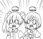 0_0 2girls bow breasts camera cellphone double_spoiler emphasis_lines flip_phone hair_between_eyes hair_bow himekaidou_hatate jeno monochrome multiple_girls open_mouth phone puffy_short_sleeves puffy_sleeves shameimaru_aya shoot_the_bullet short_hair short_sleeves surprised touhou twintails wing_collar