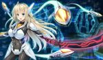 1girl bangs black_bodysuit blush bodysuit breasts character_request commentary_request covered_navel duel_monster eyebrows_visible_through_hair flying green_eyes hair_between_eyes headgear holding holding_sword holding_weapon light_brown_hair long_hair looking_at_viewer medium_breasts open_mouth outstretched_arm round_teeth solo space_craft standing suzuta_yume sword teeth two_side_up upper_teeth very_long_hair weapon yu-gi-oh!