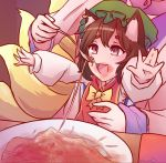 2girls animal_ears bacun cat_ears chen feeding food fork fox_tail highres kitsune meme multiple_girls multiple_tails outstretched_arms parody pasta plate spaghetti stain tail touhou