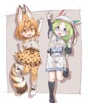 2girls animal_ears bare_shoulders belt boots bucket_hat camouflage_trim commentary_request elbow_gloves eyebrows_visible_through_hair fanny_pack feathers glasses gloves green_hair hair_tie hat high-waist_skirt highres kemono_friends khakis kneehighs kolshica long_hair mirai_(kemono_friends) multicolored_hair multiple_girls serval_(kemono_friends) serval_ears serval_print serval_tail shoes short_sleeves shorts skirt sleeveless sneakers standing standing_on_one_leg tail thigh-highs