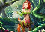 1girl absurdres bare_shoulders breasts centauroid cleavage detached_sleeves fairy fantasy forest green_hair hair_ornament highres horns light_rays long_hair medium_breasts midriff monster_girl nail_polish nature navel original red_eyes redhead short_hair sonikey0_0 sunbeam sunlight