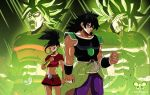 1boy 1girl arm_guards armor aura black_eyes black_hair blank_eyes breasts broly chest clenched_hands clenched_teeth dragon_ball dragon_ball_super earrings facial_scar green_hair hoop_earrings jewelry kale_(dragon_ball) legndary_super_saiyan limbonix long_hair midriff muscle navel ponytail scar scar_on_cheek short_hair single_hair_intake skirt spiky_hair super_saiyan teeth wristband