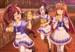 3girls animal_ears brown_hair ear_covers food frilled_skirt frills green_eyes hair_ribbon hairband highres horse_ears horse_girl horse_tail long_hair multicolored_hair multiple_girls official_art one_eye_closed open_mouth orange_hair pleated_skirt ponytail puffy_short_sleeves puffy_sleeves ribbon short_hair short_sleeves silence_suzuka skirt special_week tail taiyaki thigh-highs tokai_teio two-tone_hair umamusume violet_eyes wagashi white_legwear white_skirt zettai_ryouiki