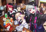 6+girls aa-12_(girls_frontline) absurdres beret blonde_hair blue_eyes brown_hair cake candy chibi chips commentary commentary_request fn_fnc_(girls_frontline) food girls_frontline gloves green_eyes hat heart heterochromia highres idw_(girls_frontline) looking_at_viewer m1903_springfield_(girls_frontline) mdr_(girls_frontline) mp7_(girls_frontline) multicolored_hair multiple_girls orange_eyes pomu_(formula) red_eyes redhead self_shot side_ponytail silver_hair smile spoken_heart streaked_hair v