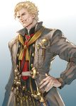 1boy blonde_hair blue_eyes facial_hair final_fantasy final_fantasy_xiv gradient gradient_background hand_on_hip highres long_coat makimura_shunsuke nero_tol_scaeva short_hair smile solo standing teeth third_eye