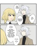 1boy 1girl 2koma bangs blonde_hair blue_eyes braid closed_eyes colored comic commentary english english_commentary fate/grand_order fate_(series) french grey_background hair_between_eyes jeanne_d'arc_(fate) jeanne_d'arc_(fate)_(all) kyou_(ningiou) merlin_(fate) open_mouth short_hair single_braid smile the_office translation_request twitter_username white_hair