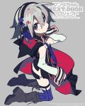1girl ahoge black_cape black_nails black_skirt boots butt_crack cape commentary_request copyright_name detached_sleeves fingernails from_side grey_background grey_eyes grey_footwear grey_hair hair_between_eyes headphones highres hood hood_down hooded_cape kneeling long_sleeves looking_at_viewer looking_to_the_side microskirt mochizuki_kei multicolored multicolored_cape multicolored_clothes nail_polish purple_legwear red_cape short_hair skirt solo thigh-highs wanda-chan_next_door_project watermark wrist_cuffs