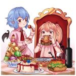 2girls :t ascot bat_wings blonde_hair blue_hair blush bottle bowl cake chair chocolate_syrup commentary crystal cup detached_wings dress drinking_glass eating english_commentary eyebrows_visible_through_hair fangs flandre_scarlet food fork fruit glass_bowl gradient gradient_background hair_between_eyes hamburger hand_up highres holding holding_bowl holding_food hot_dog ice ice_cream ice_cube looking_at_viewer meatball multiple_girls mustard nail_polish no_hat no_headwear omurice pasta pink_background pink_dress plate pocky pointy_ears puffy_short_sleeves puffy_sleeves red_eyes red_nails red_neckwear red_vest remilia_scarlet short_hair short_sleeves siblings side_ponytail sisters sitting spaghetti standing strawberry table toothpick touhou vest wafer_stick white_background wine_bottle wing_collar wings wrist_cuffs yoruny