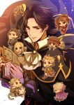 4boys 4girls alfyn_(octopath_traveler) black_hair blonde_hair bracelet braid brown_hair chibi cyrus_(octopath_traveler) dancer everyone gloves h'aanit_(octopath_traveler) hairband hat higasarosso jewelry long_hair looking_at_viewer multiple_boys multiple_girls necklace octopath_traveler olberic_eisenberg ophilia_(octopath_traveler) primrose_azelhart short_hair simple_background smile square_enix therion_(octopath_traveler) tressa_(octopath_traveler)