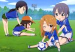 >_< 4girls :d absurdres animedia ball black_hair blue_eyes blue_shirt blue_sky blush body_blush breasts brown_hair building camouflage camouflage_scrunchie camouflage_shorts cherry_blossom_print chibi cinderella_girls_gekijou clouds collared_shirt day eyes_visible_through_hair grass green_eyes green_scrunchie grey_eyes grey_footwear grey_hair grin hair_ornament hair_scrunchie hands_on_another's_back hat highres himekawa_yuki holding holding_ball idolmaster idolmaster_cinderella_girls kneeling light_brown_hair logo long_hair looking_at_another looking_at_viewer magazine_scan medium_breasts multiple_girls official_art one_eye_closed open_mouth orange_footwear orange_hat otokura_yuuki outdoors pink_footwear pink_wristband ponytail print_hat print_shorts print_wristband scan scrunchie shirt short_hair shorts sideways_mouth sitting sky smile soccer_ball soccer_field soccer_uniform socks sportswear spotlight spread_legs star star_print stretch takatsu_tomoko tongue tree watermark wavy_mouth white_legwear white_shorts wristband yamato_aki yuuki_haru